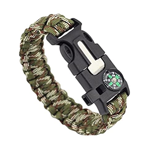 uhoMEy 5 In 1 Survival Bracelet Multifunctional Outdoor Paracord Survival Gear Parachute Cord Flint Fire Starter Scraper Compass