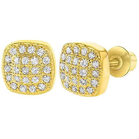 18k Gold Plated Clear Crystal Pave Screw Back Square Girls Earrings