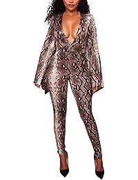 adbb013598e7 HaiDean Donna Tute Eleganti Jumpsuit Intere Lunghe Ragazza Tutine Autunno  Maniche Semplice Glamorous Lunghe V Profondo