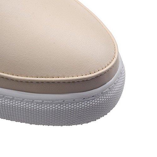 AllhqFashion Femme Tire Pu Cuir Rond à Talon Haut Couleur Unie Chaussures Légeres Blanc
