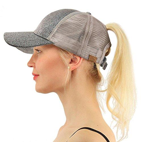 h Verstellbar atmungsaktiv Modische glänzend Sonnenhüte für Frauen Outdoor Sport Reise, grau ()