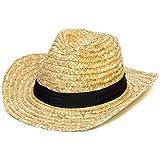 Sombrero de paja estilo cowboy Stetson con cinta negra