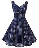 Bridesmay Robe courte vintage rétro Audrey Hepburn années 50 Rockabilly Navy Small White Dot S