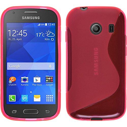 PhoneNatic Case kompatibel mit Samsung Galaxy Ace Style - pink Silikon Hülle S-Style + 2 Schutzfolien