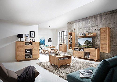 Anbauwand, Wohnwand, Schrankwand, Fernsehwand, Wohnzimmerschrank, Wohnzimmerschrankwand, Eiche, Navarra, steingrau, modern, Retro - 6