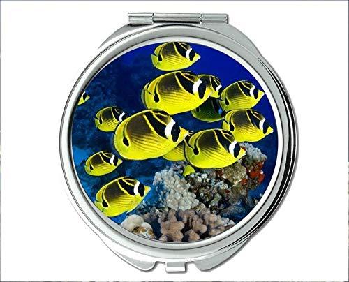 Yanteng Spiegel, Schminkspiegel, Fischmotiv des Taschenspiegels, tragbarer Spiegel 1 X 2X Vergrößerung