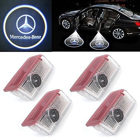 4 x Lampe 3D LED Porte Voiture d'éclairage Logo Projection Bienvenue Pour Mercedes Benz ML (w166) E (W212) GL350 gl450 GL500