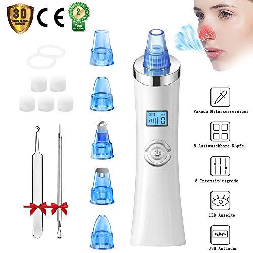 Mitesserentferner Mitesser Entferner Mitesser Sauger Vakuumsauger Porenreiniger mit 5 Austauschbaren Reinigungsaufsätzen LED Anzeige Set für Akne Pickel Poren