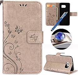 Etsue Kompatibel mit Samsung Galaxy S7 Handytasche Hülle Handy Hüllen Flip Case Cover Schutzhülle Brieftasche Ledertasche Wallet Lederhülle Etui Bookstyle Klapphülle Kartenfächer Schmetterling,Grau