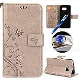 Etsue Hülle für Samsung Galaxy S7 Handytasche Handy Hüllen Flip Case Cover Schutzhülle Brieftasche Ledertasche Wallet Lederhülle Etui Bookstyle Klapphülle Kartenfächer Schmetterling