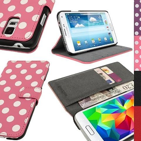 igadgitz Rosa con Lunares Blancos Funda Eco Estilo Libro para Samsung Galaxy S5 SM-G900 Con Ranuras Para Tarjetas + Protector