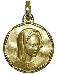 Never Say Never Medalla Virgen María de 20mm de Oro Amarillo de 18kts Mate con el Canto en Brillo Ideal comunión