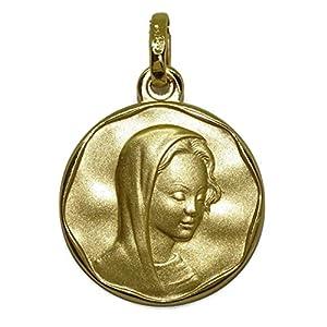 Never Say Never Medaille Jungfrau Maria 20mm Gold Gelb 18KTS matt mit Gesang in Glanz ideal Kommunion