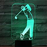 Creative 3D LED Night Light Golf Player 7 Gradients Colorés Atmosphère Lampe USB...