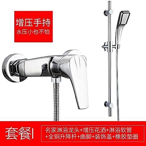 SunSuiHui porcelain triple copper shower faucet flush water valve of water heater bath shower faucet simple suit,Famous all brass lifting rod