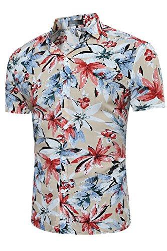 Los-Hombres-Tropcial-Causal-Flor-Imprimir-Botn-Abajo-Camisa-Hawaiana-De-Playa-Khaki-M