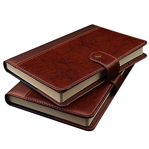 Zhi Jin A5/A6Dick Vintage Leder Notizbuch Tagebuch Hardcover, liniert, Notizblock Tagebuch mit Stud Knopfverschluss A6