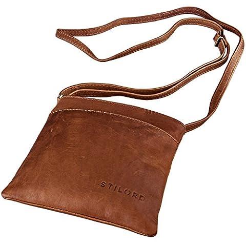 STILORD 'Lana' kleine Umhängetasche Damen Ausgehtasche Schultertasche Handtasche echtes Büffel Leder Vintage Design, Farbe:cognac -