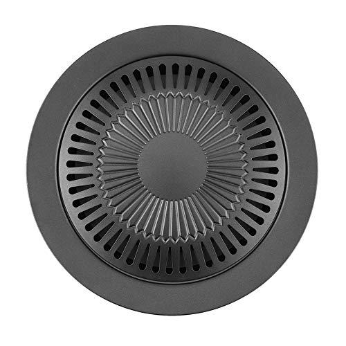 Nowakk Tragbare runde Form rauchlose Indoor Grill mit Bürste Antihaft Grillpfanne Braten Tablett Küche BBQ Kochen Werkzeuge