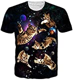 uideazone Teens Cat T-Shirts Kurzarm 3D Print Space Galaxis Cool Tee Shirts Bluse S