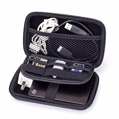 MystiTL Zubehör 2.5 Zoll Tragbare Reisetasche für Electronisches Zubehöre Organizer Case Tasche Tragetasche Wasserdicht für USB Drive Shuttel Festplatte, Schwarz (Direct-drive-verschluss)