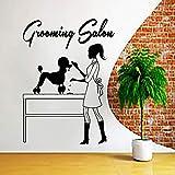 Grooming Salon Vinyl Removable Beautician Giving A Dog Haircut Wall Sticker Living Room Home Decor Nursery Decora 45cmx32cm