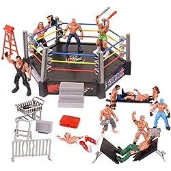 YIJIAOYUN Set di 32 Pezzi Mini Wrestling Giocattoli Include 12 Personaggi Figurine e Molteplici Accessori realistici per Bambini