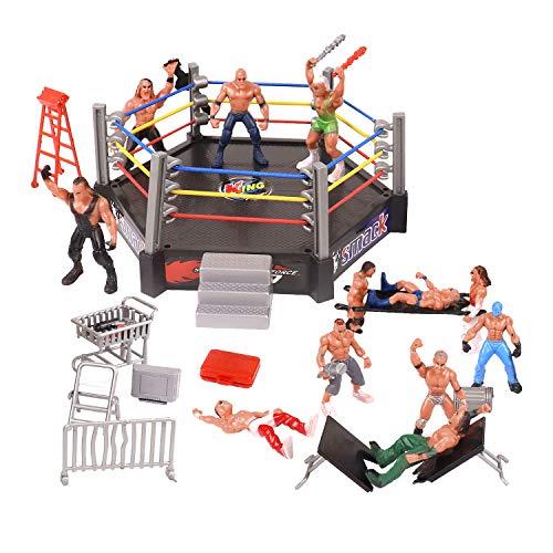 YIJIAOYUN Das 32-teilige Mini-Wrestling-Spielset enthält 12 Miniatur-Action-Wrestling-Spieler und mehrere realistische Accessoires für Kinder