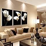 3-teiliges Wandbild mit Blumen auf Leinwand, Lilie und Calla-Lilie, Malkunst für Wohnzimmer, Sofa, Schlafzimmer, Zuhause, Büro, Wanddekoration, 30 x 50 cm