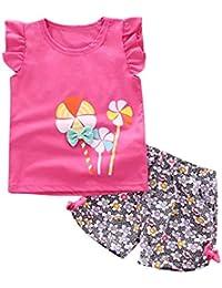 Conjuntos de Ropa para Bebés Niña,BOBOLover Niños de Pequeño Molino de Viento Camiseta Tops + Floral Shorts Pantalones Ropa Conjunto
