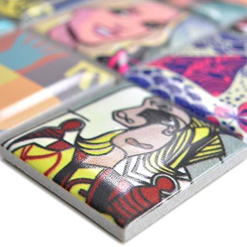 Keramik Mosaikfliesen Achilles Popartoptik Bunt Duo | Wandverkleidung Badfliesen Bad Mosaikstein Natursteinfliesen Fußbodenfliesen Dekorative Fliesen Dekor