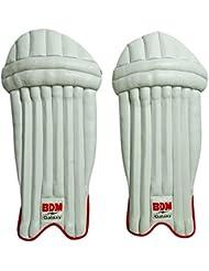 BDM Galaxy Cricket Wicket Keeping Pads Leg Guard PU cuir blanc