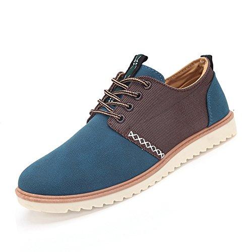 XiaoYouYu Mode Suédé Cuir Sneakers, Chaussures Décontractées de Homme Bleu