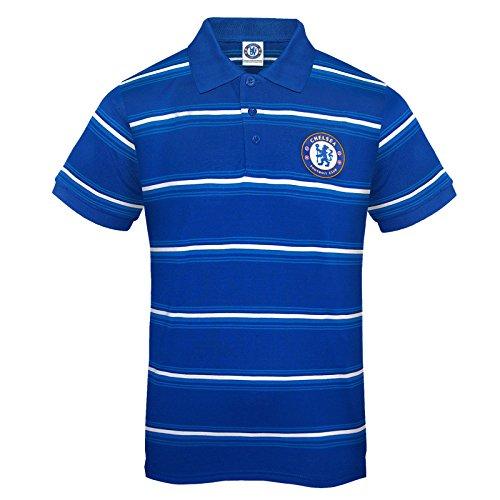 Chelsea FC - Herren Polo-Shirt mit Streifen - Offizielles Merchandise - Geschenk für Fußballfans - Blau - Königsblau - L