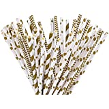 eBoot 100 Pack Biodegradable Paper Straw for Birthdays, Weddings, Baby Showers, Celebrations and Parties