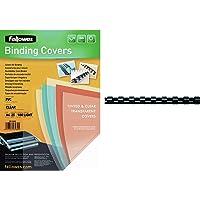 Fellowes 5380001 - Pack de 25 Couvertures de reliure PVC A4 180 Microns - Transparent & Anneaux en plastique 12 mm Noir