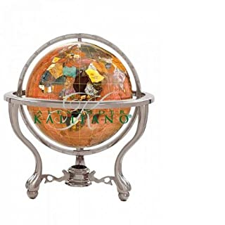Alexander Kalifano Gemstone Globe with Silver Commander 3-Leg Table Stand, Copper Amber Opalite Ocean, 9-Inch