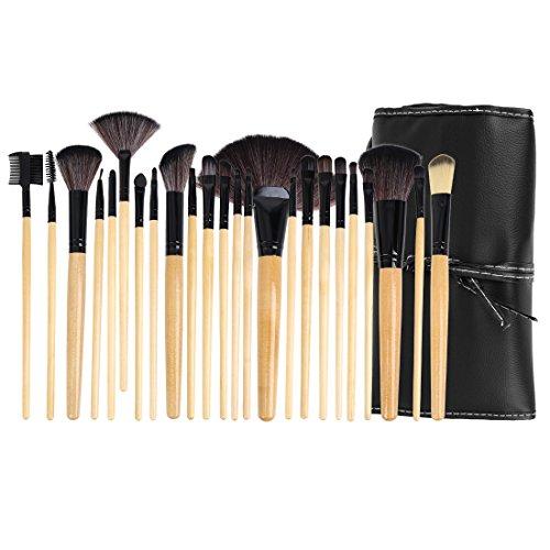 sourcingmap 24pcs maquillage cosmétique Pro bois Set Pinceaux brosse avec Kit boîte faux cuir