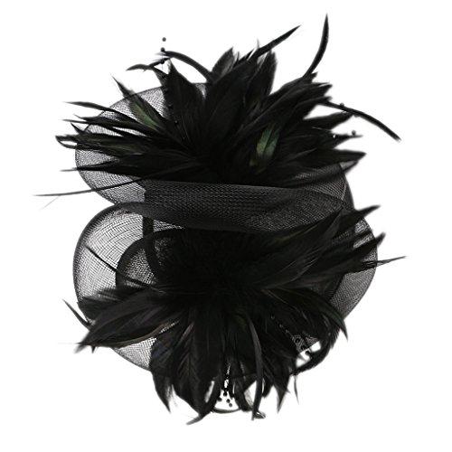 P Prettyia Damen 1920er Flappers Stirnband Federn Blumen Haarreif Fascinator Hut Braut Haarspangen Haar Accessoires Kopfbedeckung - Schwarz
