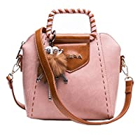MUSAA Vintage Round Shape PU Leather Spell color Shoulder Bag,Totes Cross-body Handbags For Women (Square Pink)
