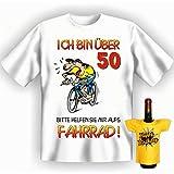 Geschenk Set Radfahrer GoodmanDesign zum 50. Geburtstag T-Shirt …aufs Fahrrad! und HAPPY BIRTHDAY Flaschenshirt Gr: XXL in weiss :)