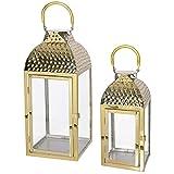 Mojawo Set di 2 Lanterne da Giardino, in Acciaio Inox Dorato, Altezza 35/46 cm, Design Elegante
