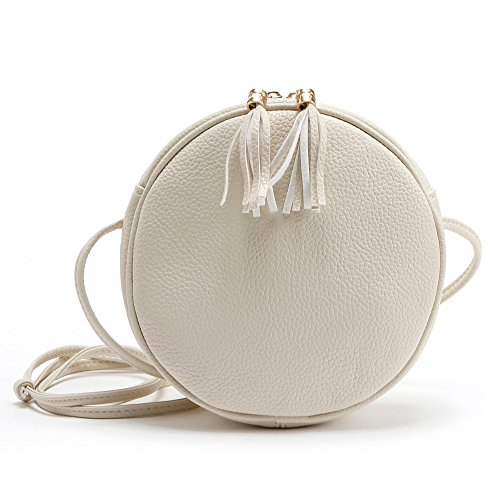 Misonz Mini PU-Leder Handtasche Schulter Umhängetasche Klein Rund Paket Damen Crossbody Taschen Klein, Damen, Weiß