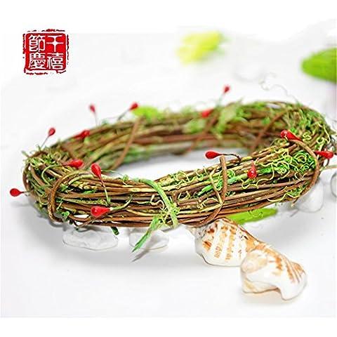 Xmas decorativi artificiali?Ghirlanda di Natale Natale aghi di pino Rattan anello alfabeto ornamenti cards-Ornamenti natale 20cm