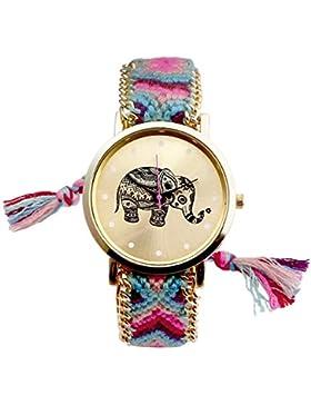 JSDDE Uhren,Ethnisch Elefant Muster Armbanduhr Damenuhr gestrickt gewebte Seil Band Analog Quarzuhr,Rosa+Grün