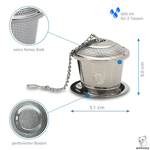 Premium Edelstahl Teeei | hochwertiges Teesieb & Teefilter | Teekugel für losen Tee | feinster Teegenuss im edlem Veloursbeutel (grau) von wellvary - 2er Set - 4