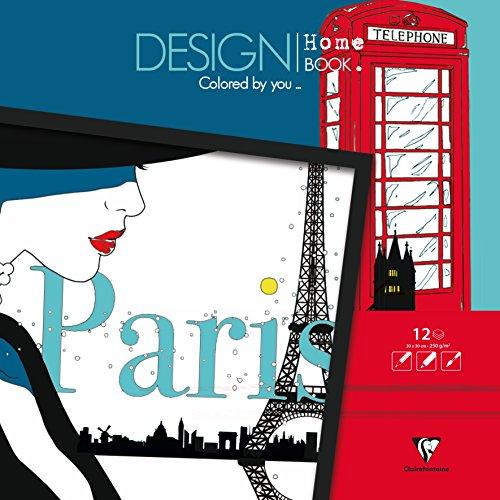 Clairefontaine Malbücher verleimt für Erwachsene: Design Home Book 21x30cm Stadt: Malbuch für Erwachsene