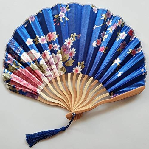 Blaue Seide Shell (Folding Fan Seide Holz- Chinesischen Stil Klassische High-End Geschenk Kreativ Shell Fan Handwerk Ventilator Dekoration Tanz Sommer Kühl Portable Weiblichen Täglichen Fan Blau)