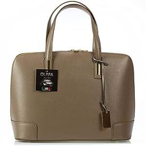 Olivia - Sac à main cuir beige TAUPE N1794 - Impression vintage 28X38 CM - Beige, Cuir