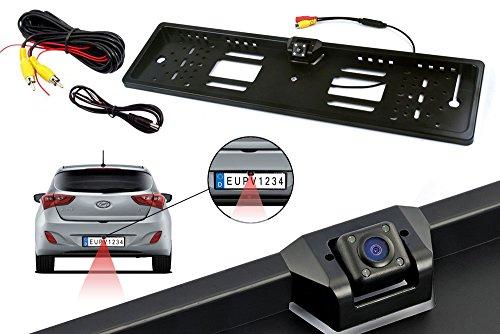 Vetrineinrete® Portatarga con telecamera retromarcia integrata 4 led infrarossi per visione notturna staffa porta targa con camera posteriore parcheggio E37